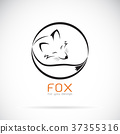 Vector of a fox design on white background.Animals 37355316