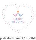 Wedding heart shaped wreath and love love little bird couple 37355960
