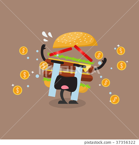 Hamburger character crying out in money tears 37356322