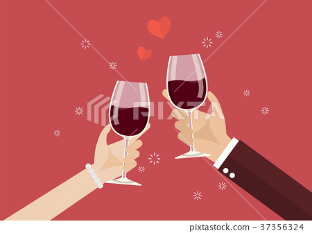 Man and woman toasting a wine glasses 37356324