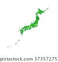 日本地圖 日本列島 綠色植物 37357275