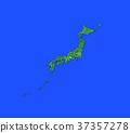 日本地圖 日本列島 綠色植物 37357278