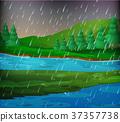 River scene on rainy day 37357738