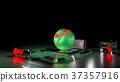 global warming concept. earth globe on processor 37357916