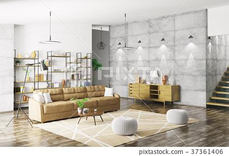 Interior of modern apartment 3d rendering 37361406