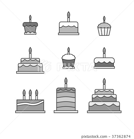 Simple cakes icons 37362874