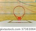 Interior of school gym with basketball board hoop 37363064