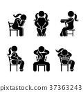 Woman people various sitting position 37363243