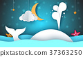 Whale, sea, star, sky, moon - paper cartoon 37363250