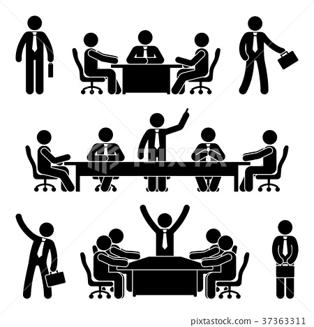 Stick figure business meeting set 37363311