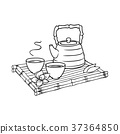 Asian teapot and teacups on bamboo trivet 37364850