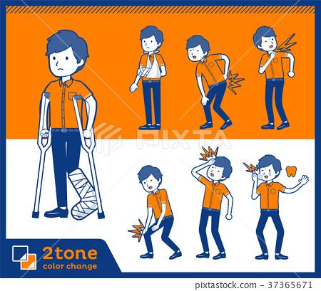 2tone type White short sleeved men_set 08 37365671