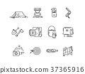 Line icons set of hiking tourism, camping. 37365916