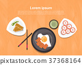 Asian Food Set Korean Thai Dishes Top Angle View 37368164