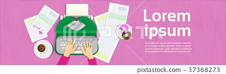 Hands Typing On Vintage Typewriter Writer 37368273