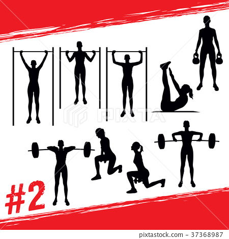 Vector silhouettes fitness and crossfit workouts 37368987