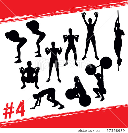 Vector silhouettes fitness and crossfit workouts 37368989
