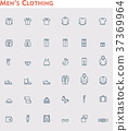 Linear men clothes icon set 37369964
