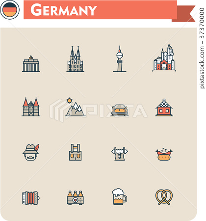 Germany  travel icon set 37370000