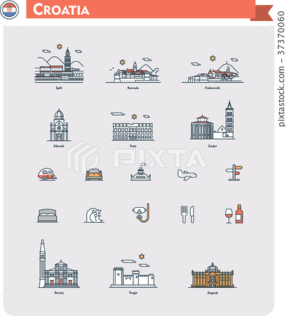 Croatia travel icon set 37370060