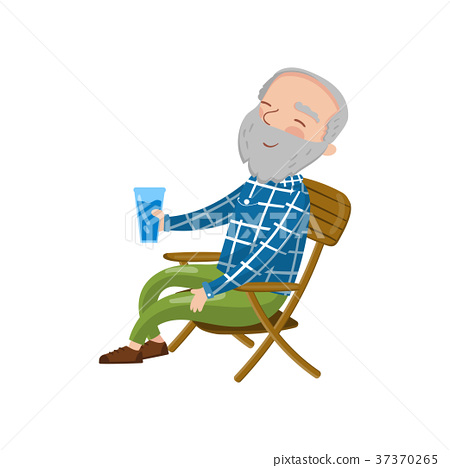 Happy smiling grandpa sitting on the chair and 37370265