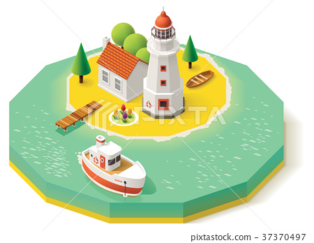 Vector isometric lighthouse 37370497