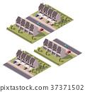 Vector isometric townhouses set 37371502