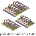 Vector isometric townhouses set 37371503