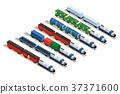 Isometric set of railway trains 37371600