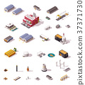 Vector isometric factory buildings set 37371730