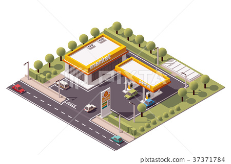 Vector isometric filling station 37371784