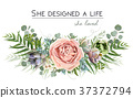 Vector floral bouquet design: garden purple rose 37372794