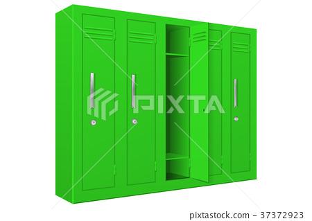 Green School Lockers With Open Door Stock Illustration 37372923 Pixta