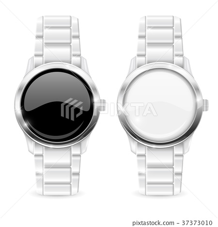 Men watch with metal bracelet. White and black 37373010