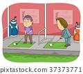 Man Golf Driving Range Illustration 37373771