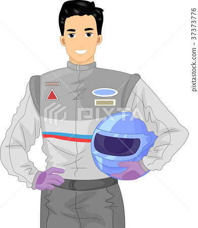 Man Car Racer Illustration 37373776