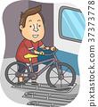 Man Bicycle Holder Train Illustration 37373778