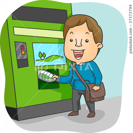 Man Recycling Machine Illustration 37373794