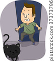 Man Scared Black Cat 37373796