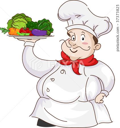 Man Chef Serve Fruits Vegetables 37373825