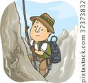 Man Explorer Mountain Climbing Illustration 37373832