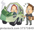 Men Driving Lesson Crashed Car Illustration 37373849