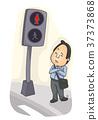Man Pedestrian Waiting Illustration 37373868