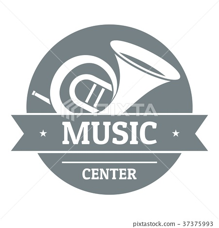 Musical instrument trumpet logo, simple gray style 37375993