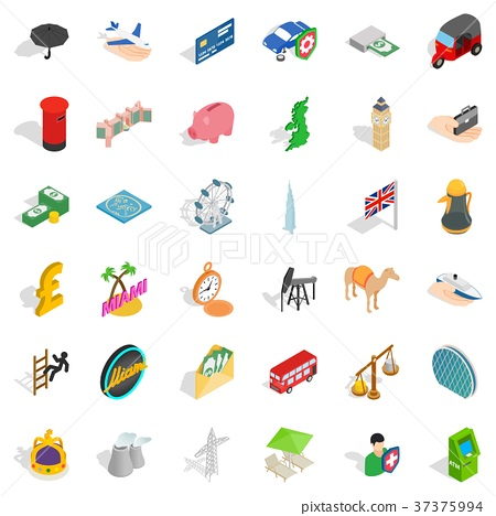 Palm tree icons set, isometric style 37375994