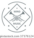 Musical trumpet logo, simple gray style 37376124