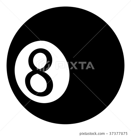 Billiard ball icon, simple black style 37377875