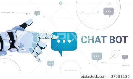 Chatter Service App Concept Robot Hand Touch Chat 37381186
