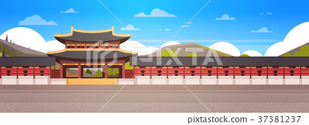 Korea Palace Landscape South Korean Temple Over 37381237