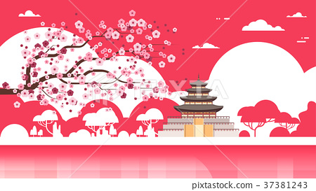 Korea Temple Silhouette Poster Palace Over Sakura 37381243
